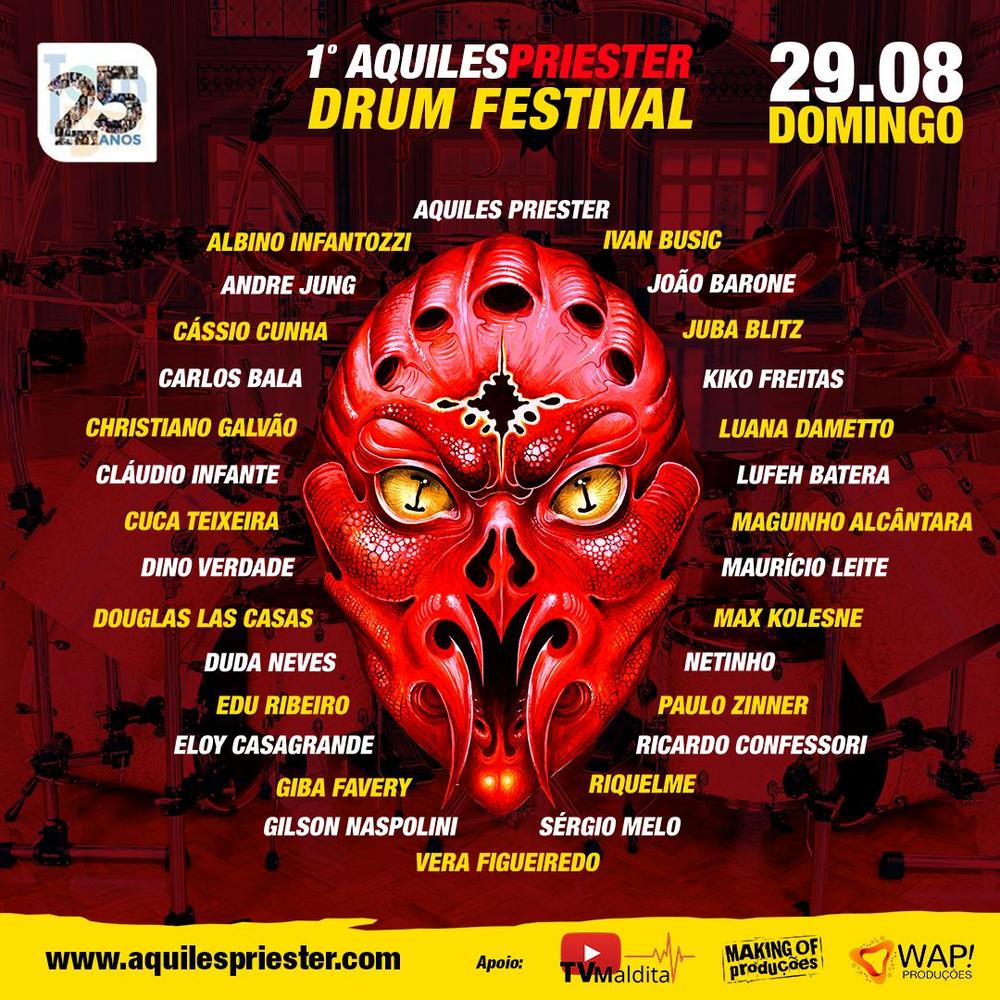 AQUILES PRIESTER reúne bateristas de vários gêneros musicais em festival   Roadie Crew