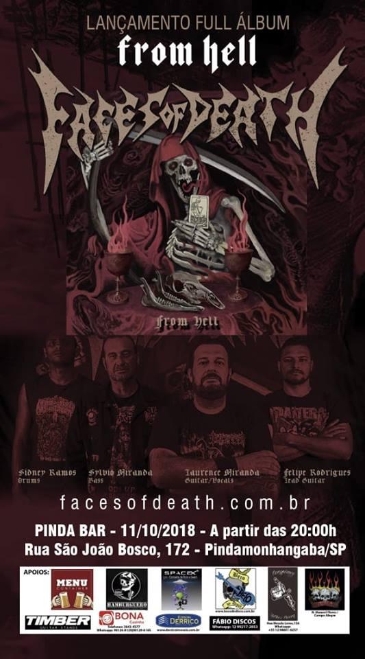 """FACES OF DEATH – Faces of Death Show de Lançamento do novo álbum """"From Hell"""""""