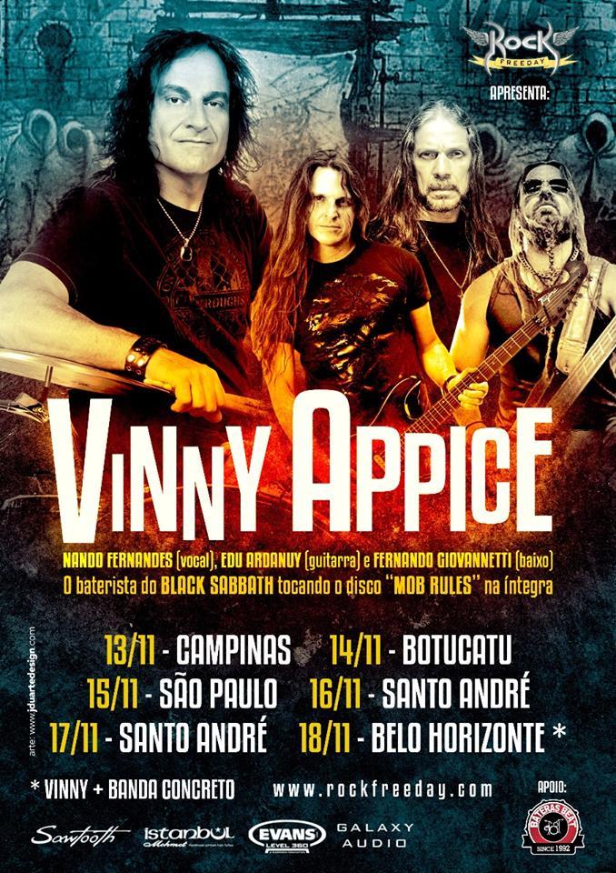 VINNY APPICE: volta ao Brasil para turnê com estrelas do Metal nacional