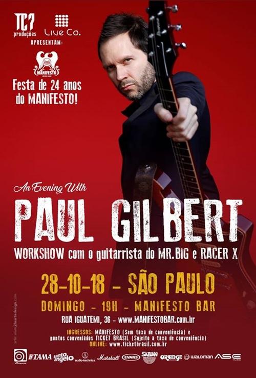 PAUL GILBERT – Workshow em São Paulo